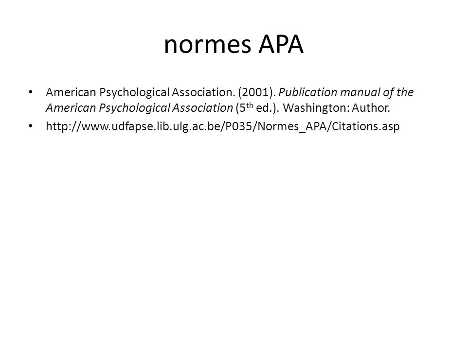 normes APA American Psychological Association.(2001).