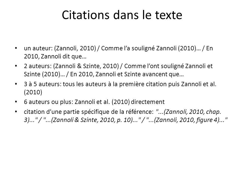 Citations dans le texte un auteur: (Zannoli, 2010) / Comme la souligné Zannoli (2010)… / En 2010, Zannoli dit que… 2 auteurs: (Zannoli & Szinte, 2010)