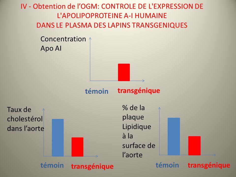 IV - Obtention de lOGM: CONTROLE DE L EXPRESSION DE L APOLIPOPROTEINE A-I HUMAINE DANS LE PLASMA DES LAPINS TRANSGENIQUES Taux de cholestérol dans laorte témoin transgénique % de la plaque Lipidique à la surface de laorte témoin transgénique Concentration Apo AI témoin transgénique