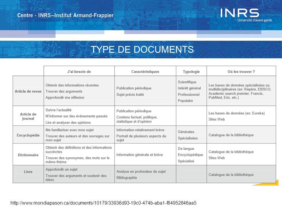 TYPOLOGIE DES DOCUMENTS http://www.mondiapason.ca/documents/10179/33936d93-19c0-474b-aba1-f84952846aa5 TYPE DE DOCUMENTS