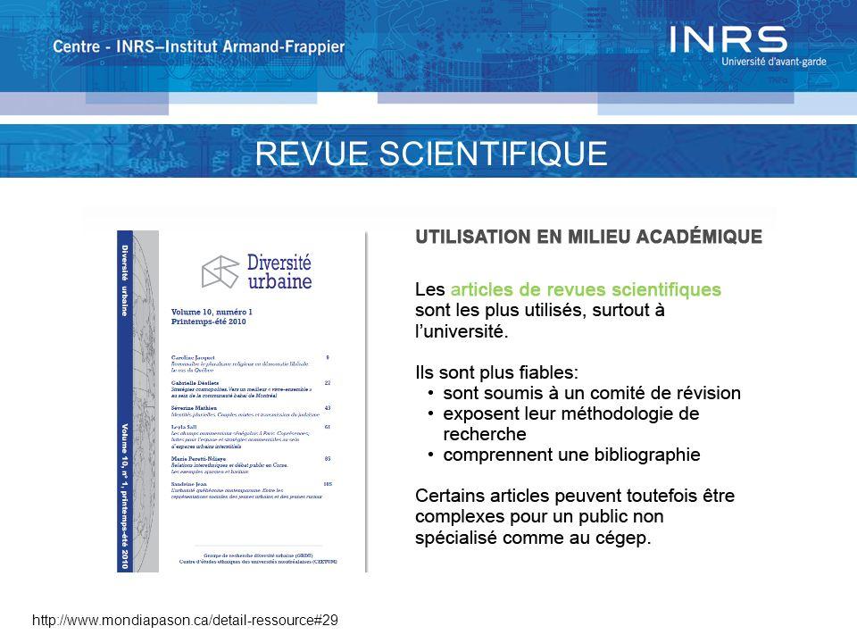REVUE SCIENTIFIQUE http://www.mondiapason.ca/detail-ressource#29