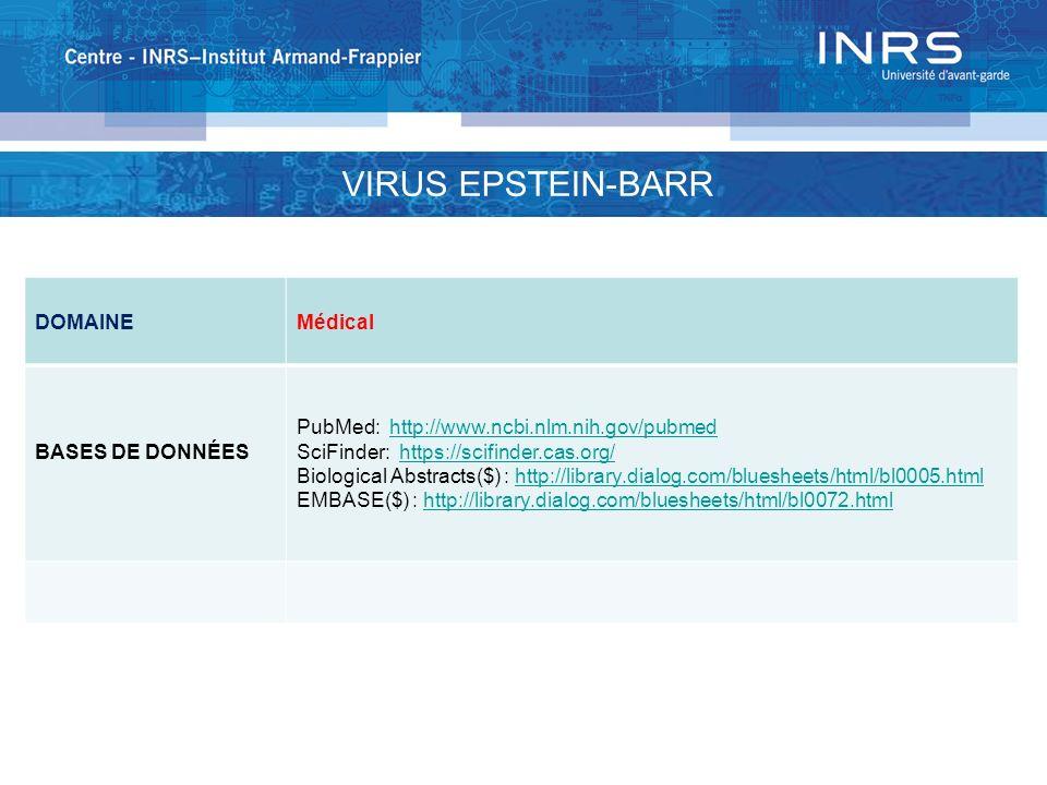 DOMAINEMédical BASES DE DONNÉES PubMed: http://www.ncbi.nlm.nih.gov/pubmedhttp://www.ncbi.nlm.nih.gov/pubmed SciFinder: https://scifinder.cas.org/http