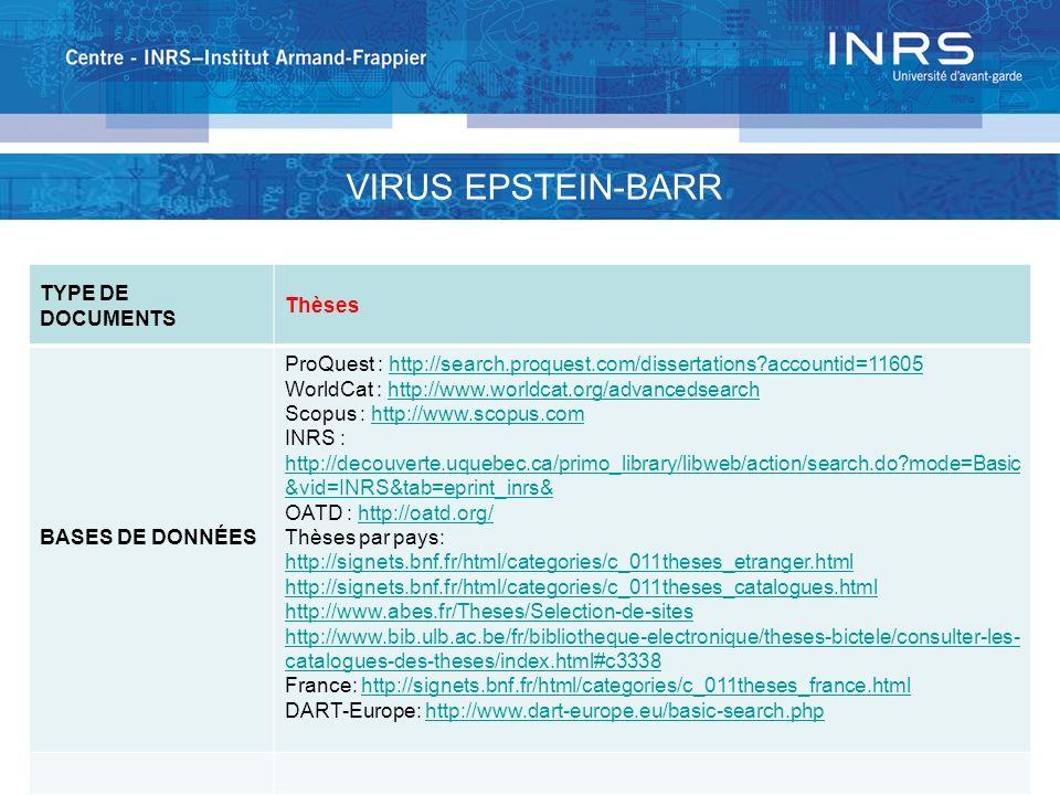 TYPE DE DOCUMENTS Thèses BASES DE DONNÉES ProQuest : http://search.proquest.com/dissertations?accountid=11605http://search.proquest.com/dissertations?