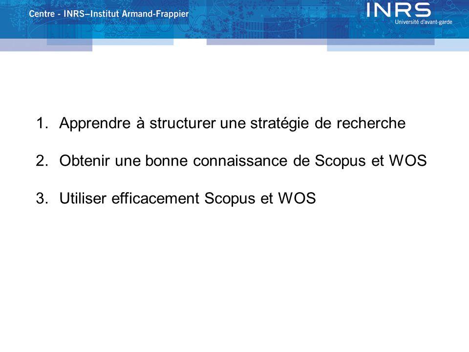 1. GOALS 1.Apprendre à structurer une stratégie de recherche 2.Obtenir une bonne connaissance de Scopus et WOS 3.Utiliser efficacement Scopus et WOS