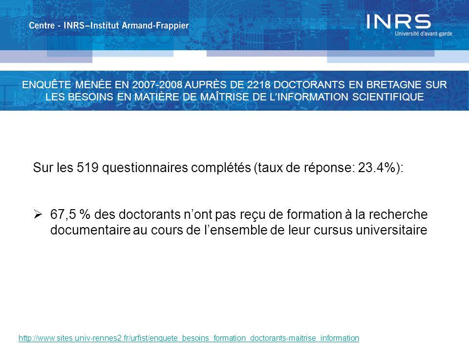 http://www.sites.univ-rennes2.fr/urfist/enquete_besoins_formation_doctorants-maitrise_information Sur les 519 questionnaires complétés (taux de répons