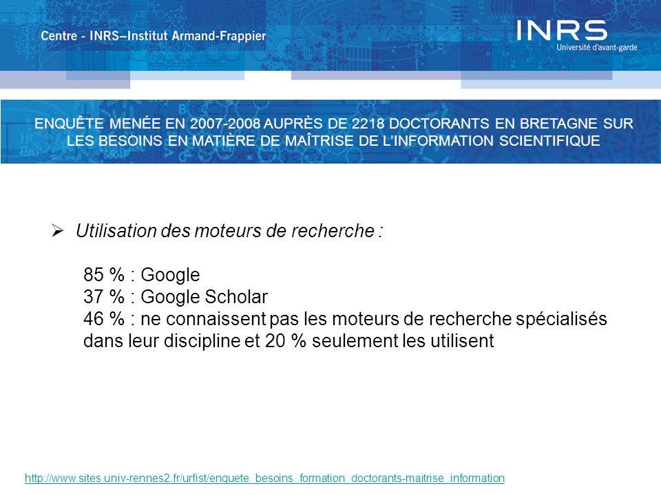 http://www.sites.univ-rennes2.fr/urfist/enquete_besoins_formation_doctorants-maitrise_information Utilisation des moteurs de recherche : 85 % : Google