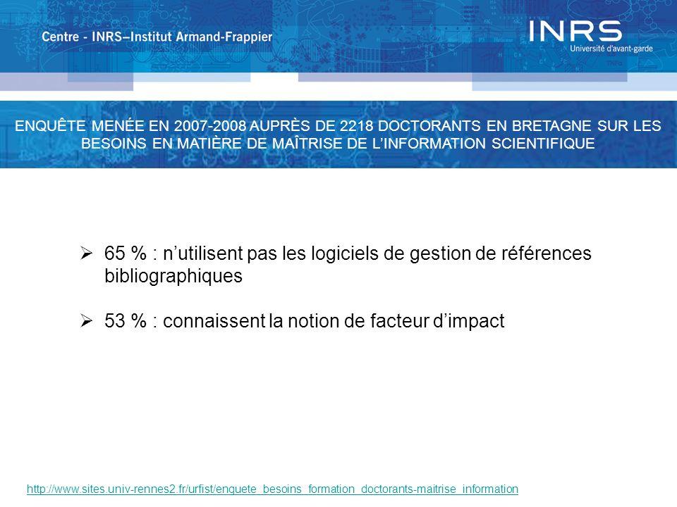 http://www.sites.univ-rennes2.fr/urfist/enquete_besoins_formation_doctorants-maitrise_information 65 % : nutilisent pas les logiciels de gestion de ré