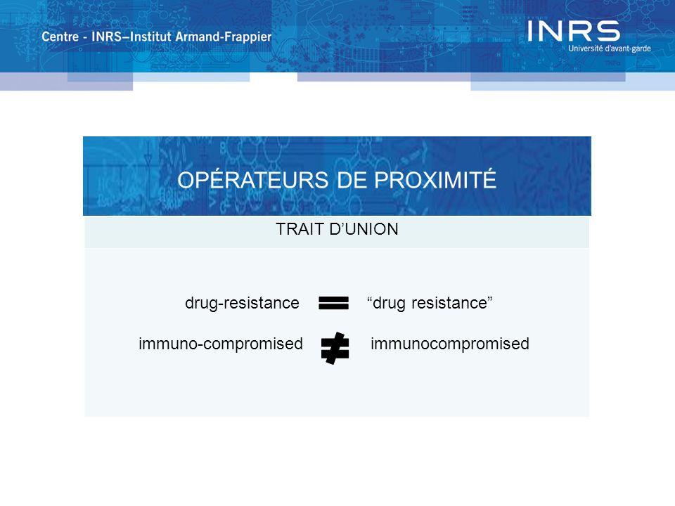 TRAIT DUNION drug-resistance drug resistance immuno-compromised immunocompromised OPÉRATEURS DE PROXIMITÉ