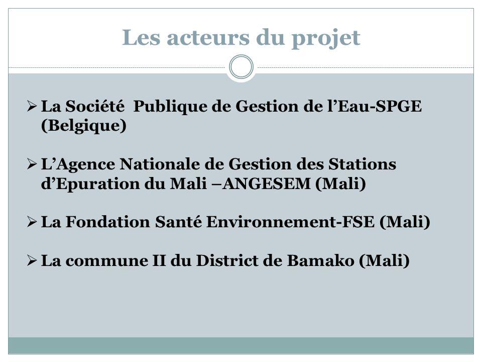 Les acteurs du projet La Société Publique de Gestion de lEau-SPGE (Belgique) LAgence Nationale de Gestion des Stations dEpuration du Mali –ANGESEM (Ma