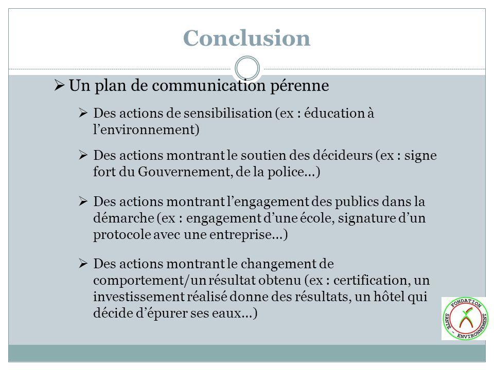 Conclusion Un plan de communication pérenne Des actions de sensibilisation (ex : éducation à lenvironnement) Des actions montrant le soutien des décid