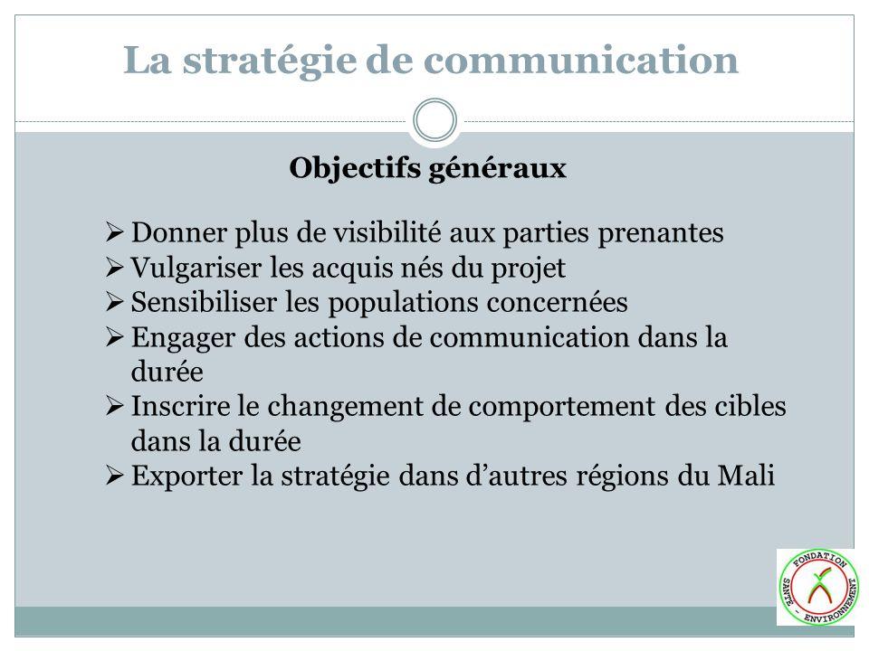 La stratégie de communication Objectifs généraux Donner plus de visibilité aux parties prenantes Vulgariser les acquis nés du projet Sensibiliser les