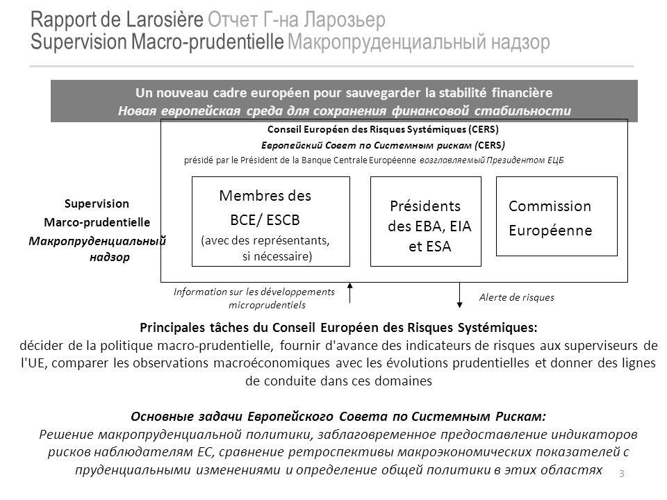 3 Rapport de Larosière Отчет Г-на Ларозьер Supervision Macro-prudentielle Макропруденциальный надзор Un nouveau cadre européen pour sauvegarder la sta