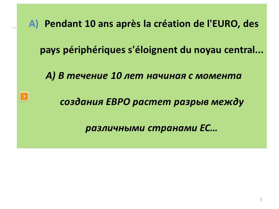5 A)Pendant 10 ans après la création de l'EURO, des pays périphériques s'éloignent du noyau central... А) В течение 10 лет начиная с момента создания