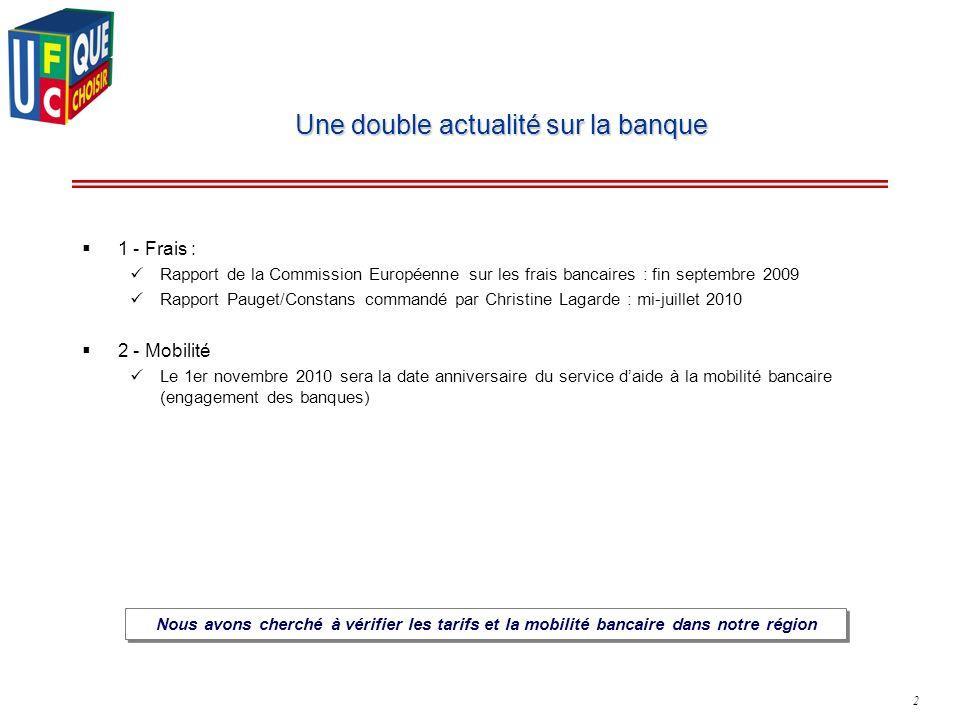 2 Une double actualité sur la banque 1 - Frais : Rapport de la Commission Européenne sur les frais bancaires : fin septembre 2009 Rapport Pauget/Const