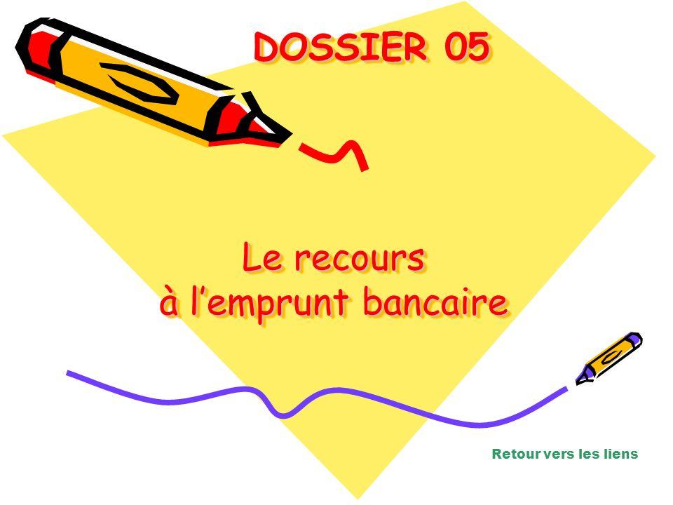 Le recours à lemprunt bancaire Le recours à lemprunt bancaire Le recours à lemprunt bancaire DOSSIER 05 DOSSIER 05 Retour vers les liens