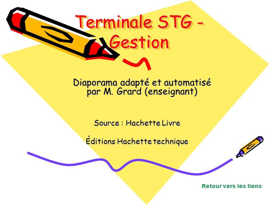 Source : Hachette Livre Éditions Hachette technique Diaporama adapté et automatisé par M. Grard (enseignant) Terminale STG - Gestion Retour vers les l