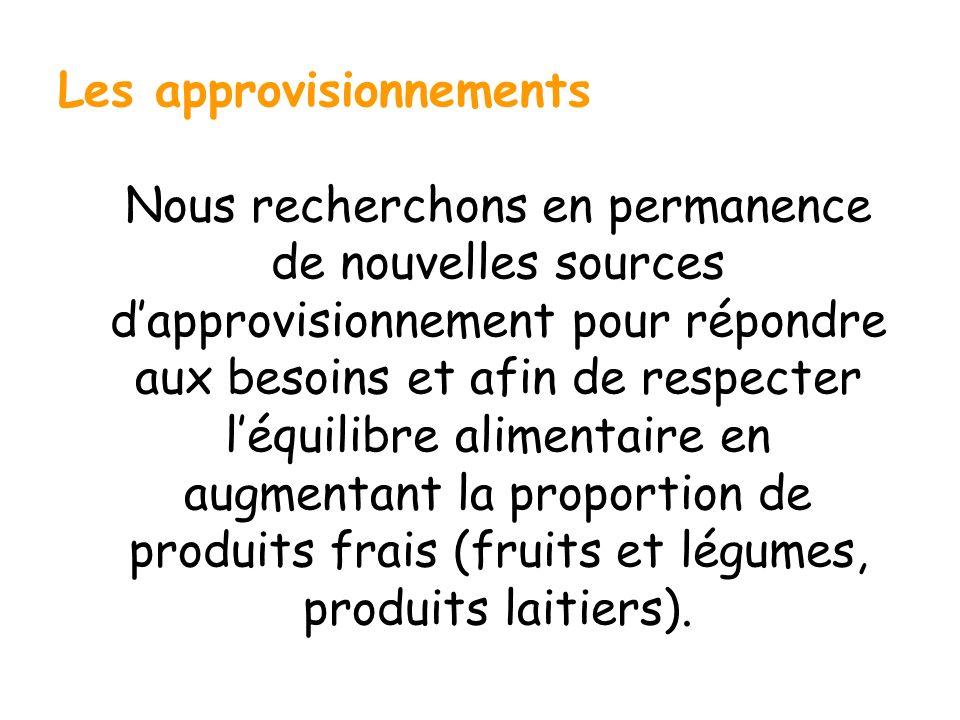 Les approvisionnements Nous recherchons en permanence de nouvelles sources dapprovisionnement pour répondre aux besoins et afin de respecter léquilibr