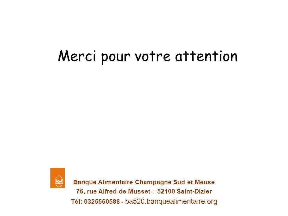 Banque Alimentaire Champagne Sud et Meuse 76, rue Alfred de Musset – 52100 Saint-Dizier Tél: 0325560588 - ba520.banquealimentaire.org Merci pour votre
