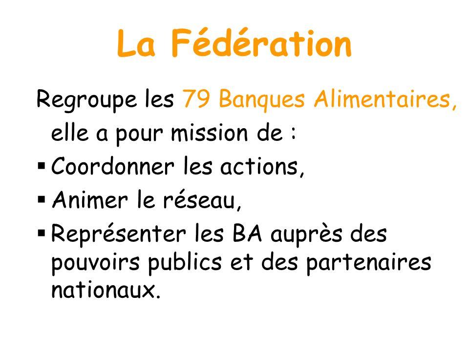 La Fédération Regroupe les 79 Banques Alimentaires, elle a pour mission de : Coordonner les actions, Animer le réseau, Représenter les BA auprès des p