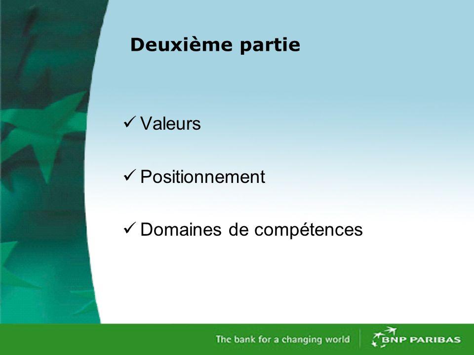 Deuxième partie Valeurs Positionnement Domaines de compétences