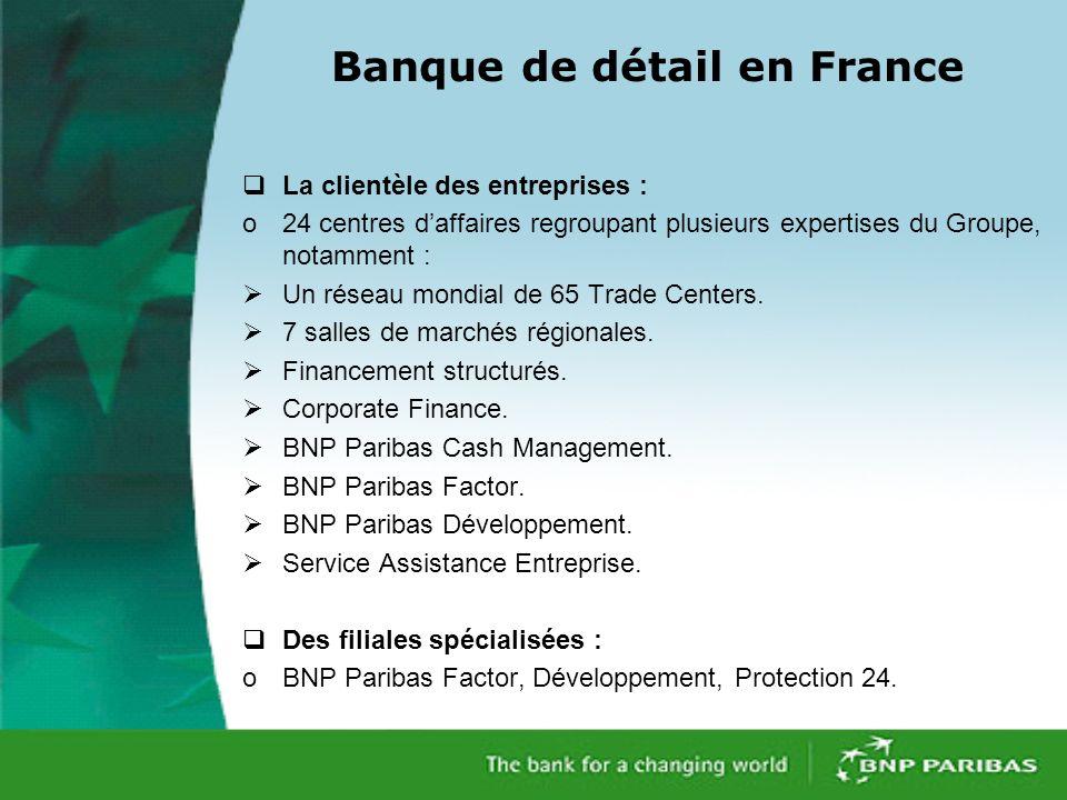Banque de détail en France La clientèle des entreprises : o24 centres daffaires regroupant plusieurs expertises du Groupe, notamment : Un réseau mondial de 65 Trade Centers.