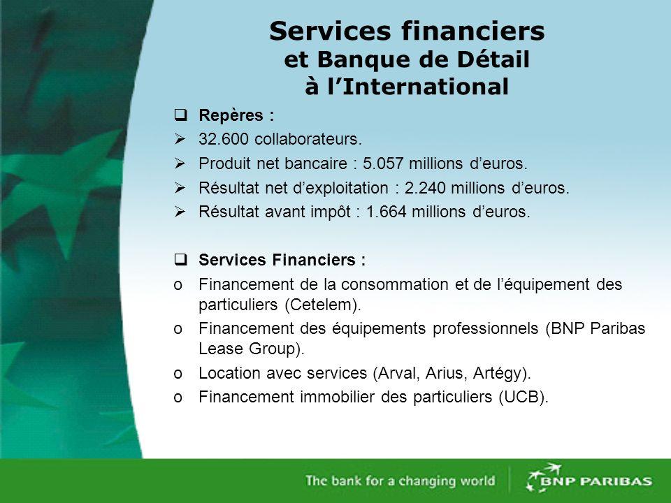 Services financiers et Banque de Détail à lInternational Repères : 32.600 collaborateurs.