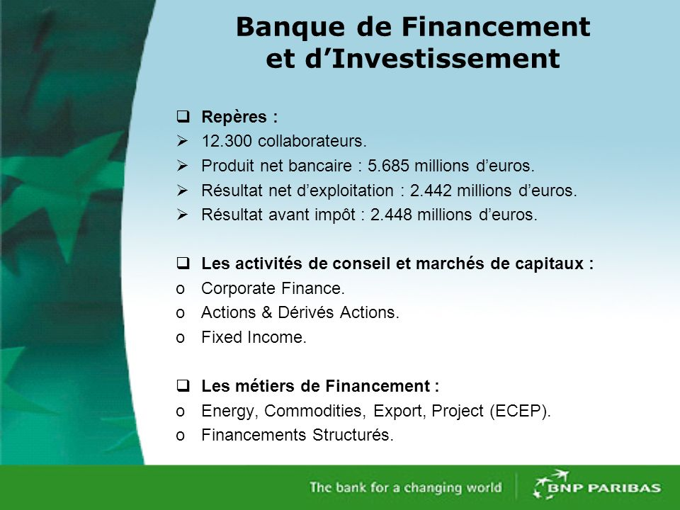 Banque de Financement et dInvestissement Repères : 12.300 collaborateurs.