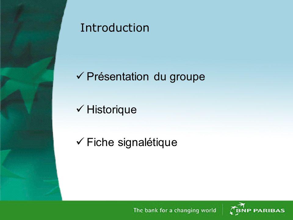 Introduction Présentation du groupe Historique Fiche signalétique