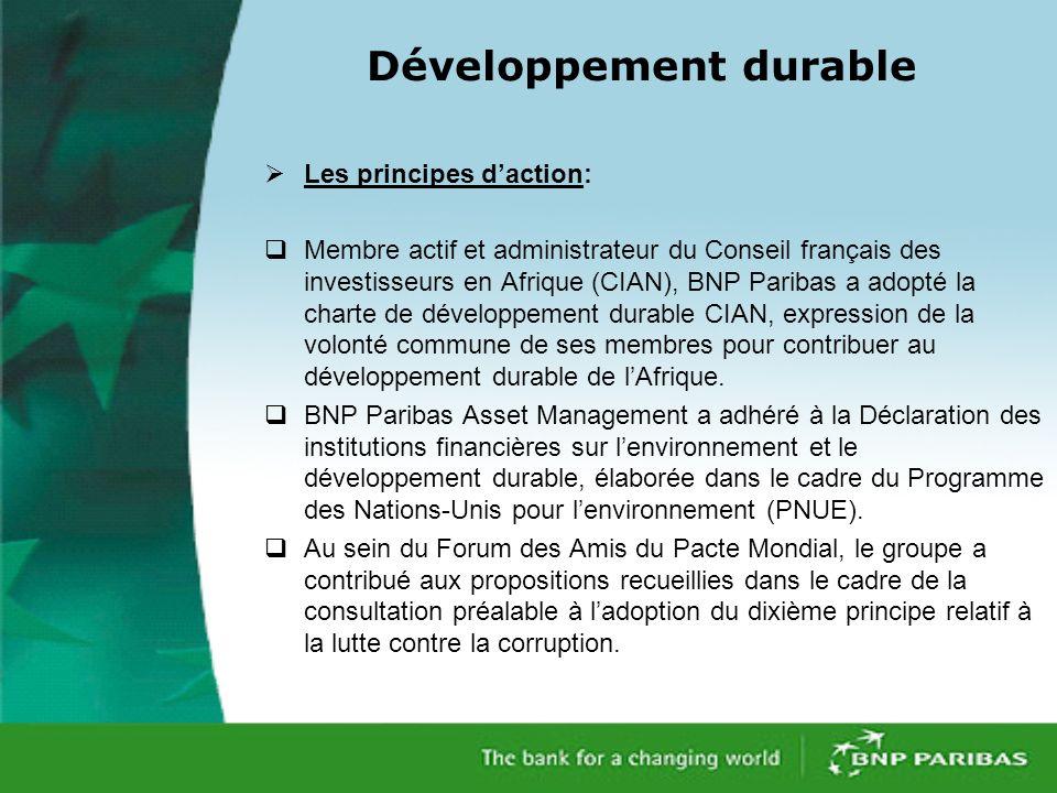 Développement durable Les principes daction: Membre actif et administrateur du Conseil français des investisseurs en Afrique (CIAN), BNP Paribas a adopté la charte de développement durable CIAN, expression de la volonté commune de ses membres pour contribuer au développement durable de lAfrique.