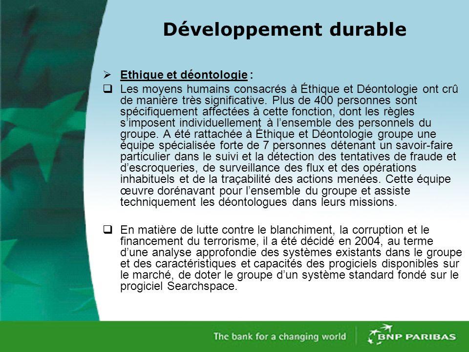 Développement durable Ethique et déontologie : Les moyens humains consacrés à Éthique et Déontologie ont crû de manière très significative.