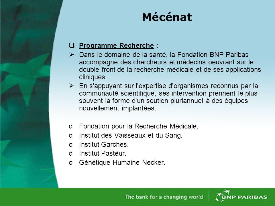 Mécénat Programme Recherche : Dans le domaine de la santé, la Fondation BNP Paribas accompagne des chercheurs et médecins oeuvrant sur le double front de la recherche médicale et de ses applications cliniques.