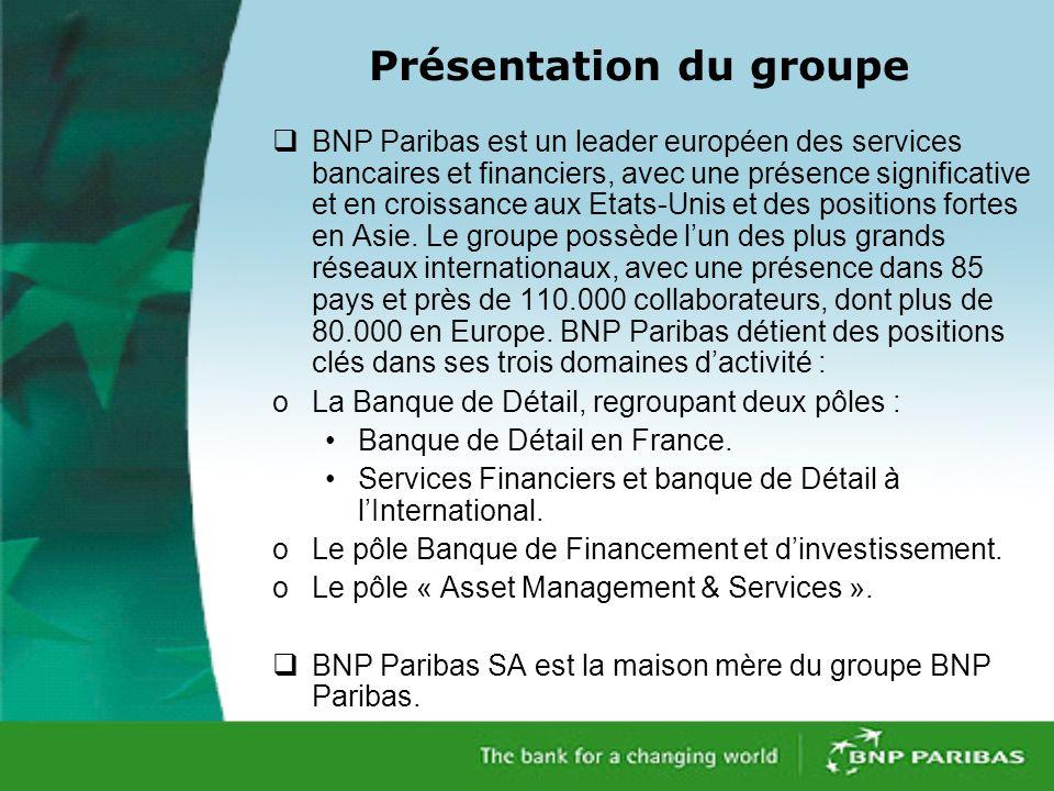 Présentation du groupe BNP Paribas est un leader européen des services bancaires et financiers, avec une présence significative et en croissance aux Etats-Unis et des positions fortes en Asie.