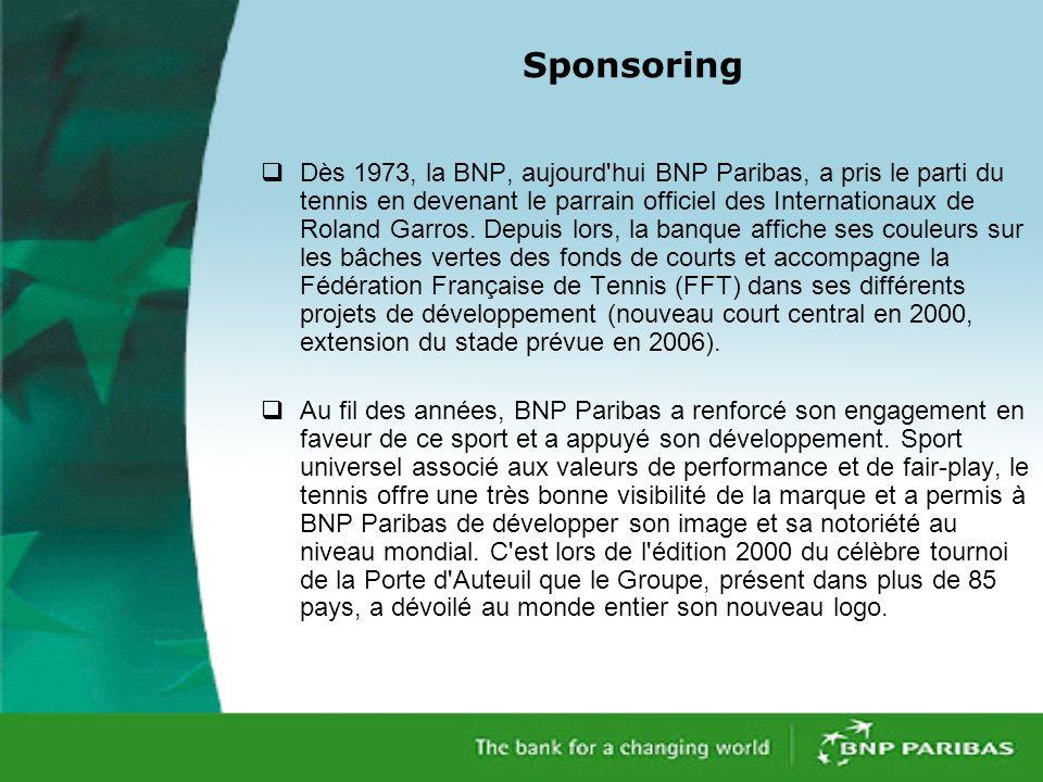 Sponsoring Dès 1973, la BNP, aujourd hui BNP Paribas, a pris le parti du tennis en devenant le parrain officiel des Internationaux de Roland Garros.
