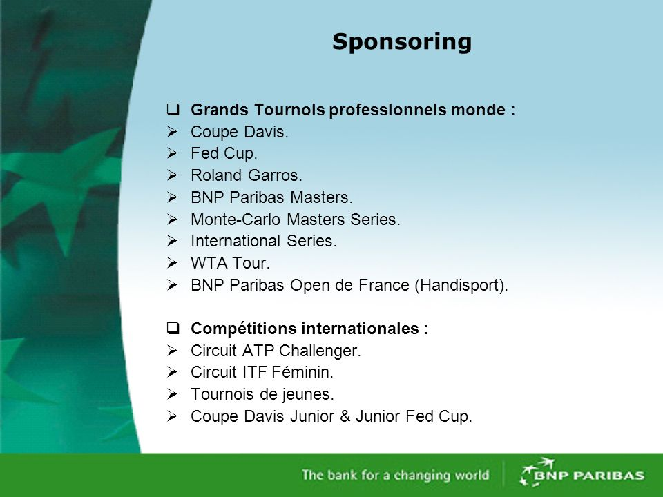 Sponsoring Grands Tournois professionnels monde : Coupe Davis. Fed Cup. Roland Garros. BNP Paribas Masters. Monte-Carlo Masters Series. International