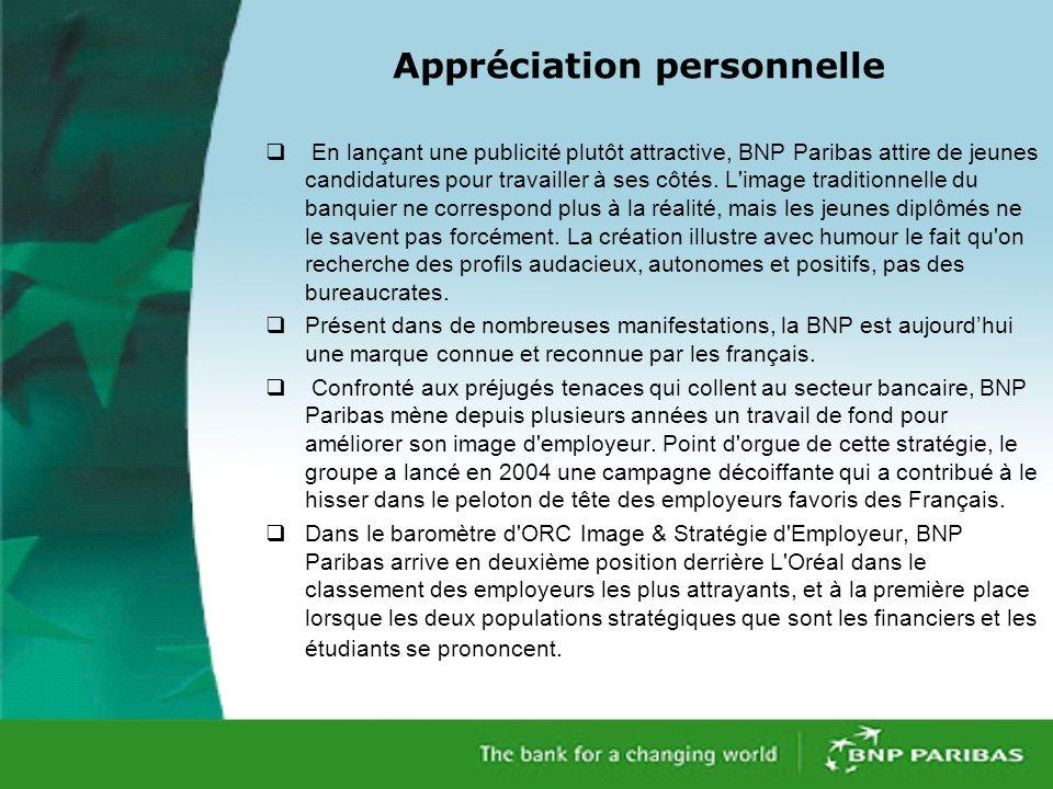 En lançant une publicité plutôt attractive, BNP Paribas attire de jeunes candidatures pour travailler à ses côtés.