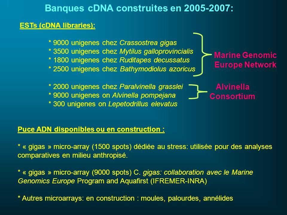 Banques cDNA construites en 2005-2007: ESTs (cDNA libraries): * 9000 unigenes chez Crassostrea gigas * 3500 unigenes chez Mytilus galloprovincialis *