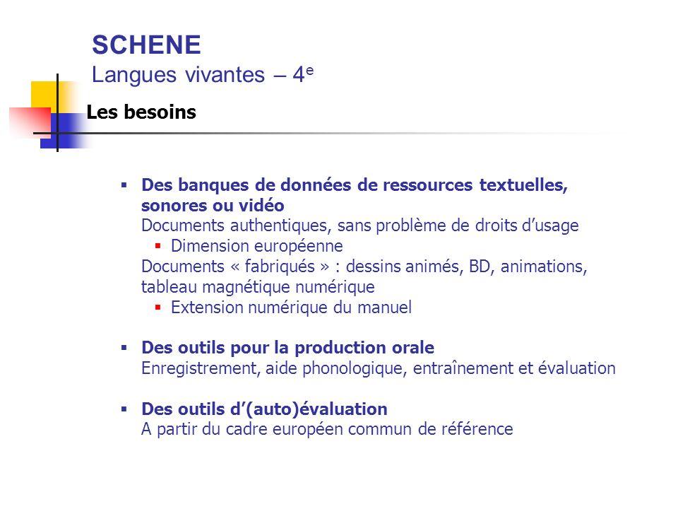 SCHENE Langues vivantes – 4 e Les besoins Des banques de données de ressources textuelles, sonores ou vidéo Documents authentiques, sans problème de d