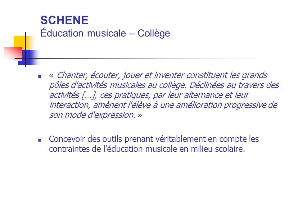 SCHENE Éducation musicale – Collège « Chanter, écouter, jouer et inventer constituent les grands pôles d'activités musicales au collège. Déclinées au