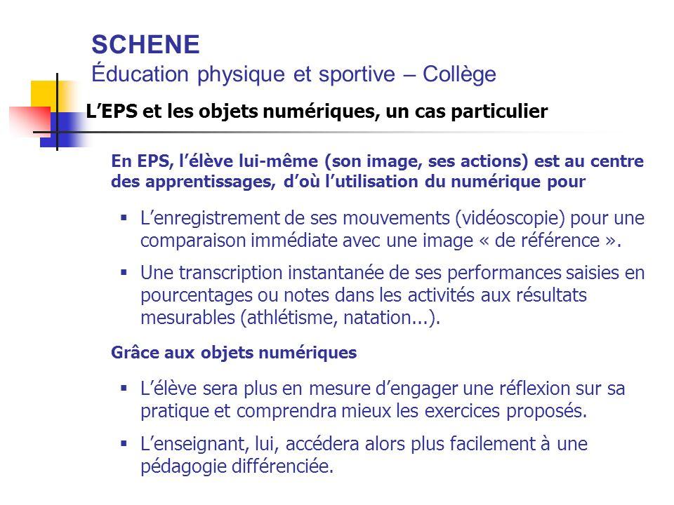 SCHENE Éducation physique et sportive – Collège LEPS et les objets numériques, un cas particulier En EPS, lélève lui-même (son image, ses actions) est
