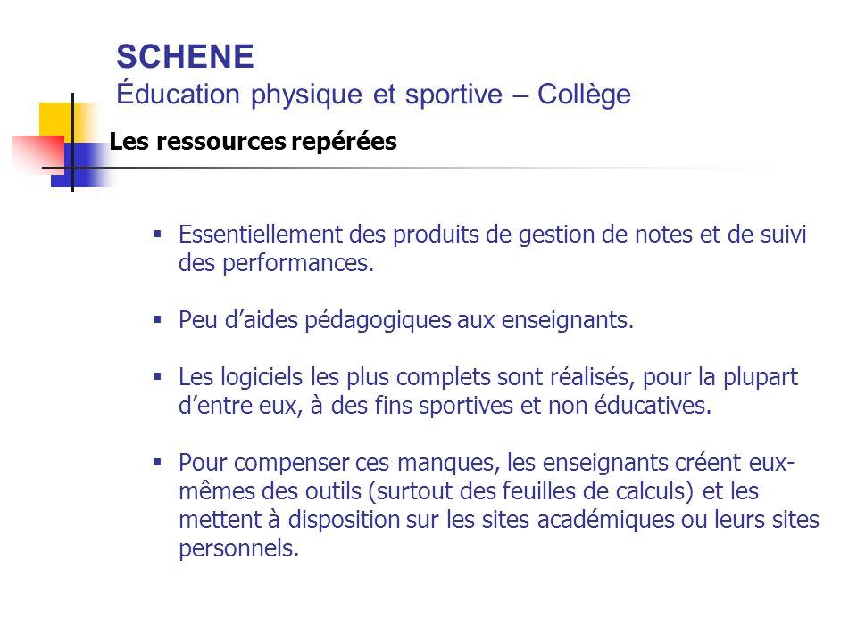 SCHENE Éducation physique et sportive – Collège Les ressources repérées Essentiellement des produits de gestion de notes et de suivi des performances.