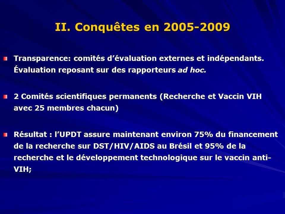 II. Conquêtes en 2005-2009 Transparence: comités dévaluation externes et indépendants.
