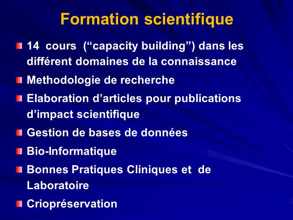 Formation scientifique 14 cours (capacity building) dans les différent domaines de la connaissance Methodologie de recherche Elaboration darticles pou