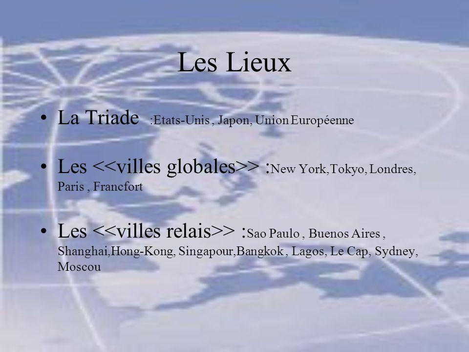 Les Lieux La Triade :Etats-Unis, Japon, Union Européenne Les > : New York,Tokyo, Londres, Paris, Francfort Les > : Sao Paulo, Buenos Aires, Shanghai,Hong-Kong, Singapour,Bangkok, Lagos, Le Cap, Sydney, Moscou