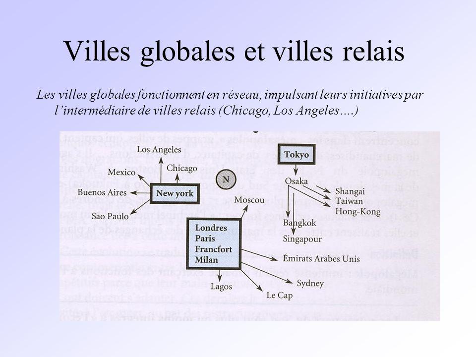 Villes globales et villes relais Les villes globales fonctionnent en réseau, impulsant leurs initiatives par lintermédiaire de villes relais (Chicago, Los Angeles….)