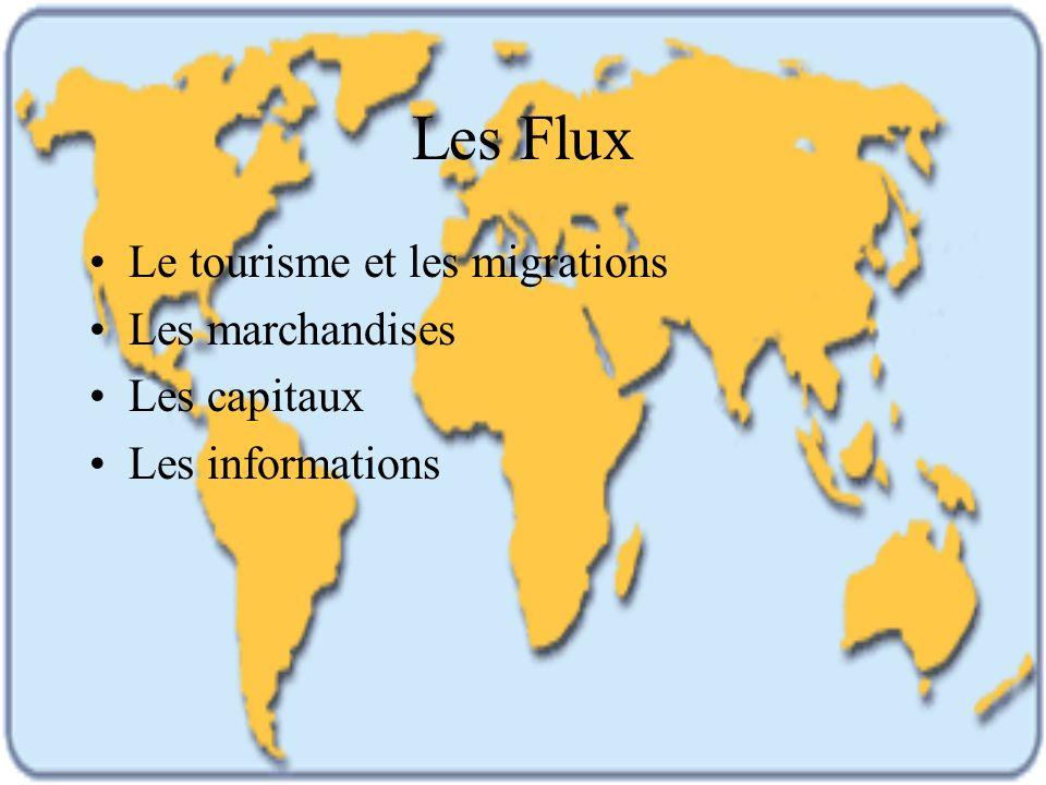 Les Flux Le tourisme et les migrations Les marchandises Les capitaux Les informations