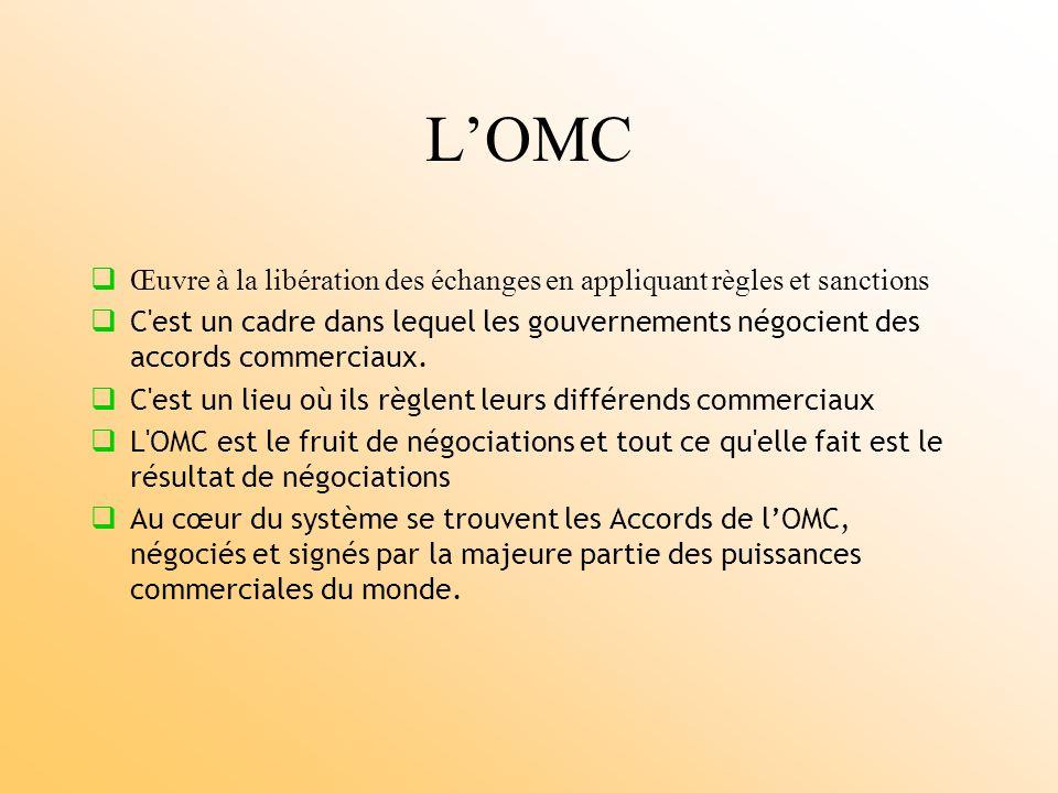 LOMC Œuvre à la libération des échanges en appliquant règles et sanctions C est un cadre dans lequel les gouvernements négocient des accords commerciaux.