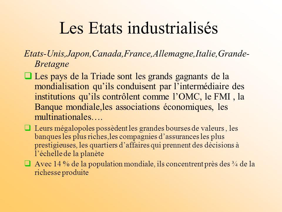 Les Etats industrialisés Etats-Unis,Japon,Canada,France,Allemagne,Italie,Grande- Bretagne Les pays de la Triade sont les grands gagnants de la mondialisation quils conduisent par lintermédiaire des institutions quils contrôlent comme lOMC, le FMI, la Banque mondiale,les associations économiques, les multinationales….