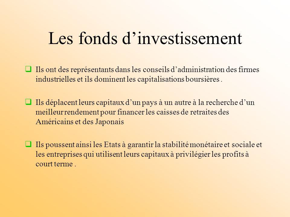 Les fonds dinvestissement Ils ont des représentants dans les conseils dadministration des firmes industrielles et ils dominent les capitalisations boursières.