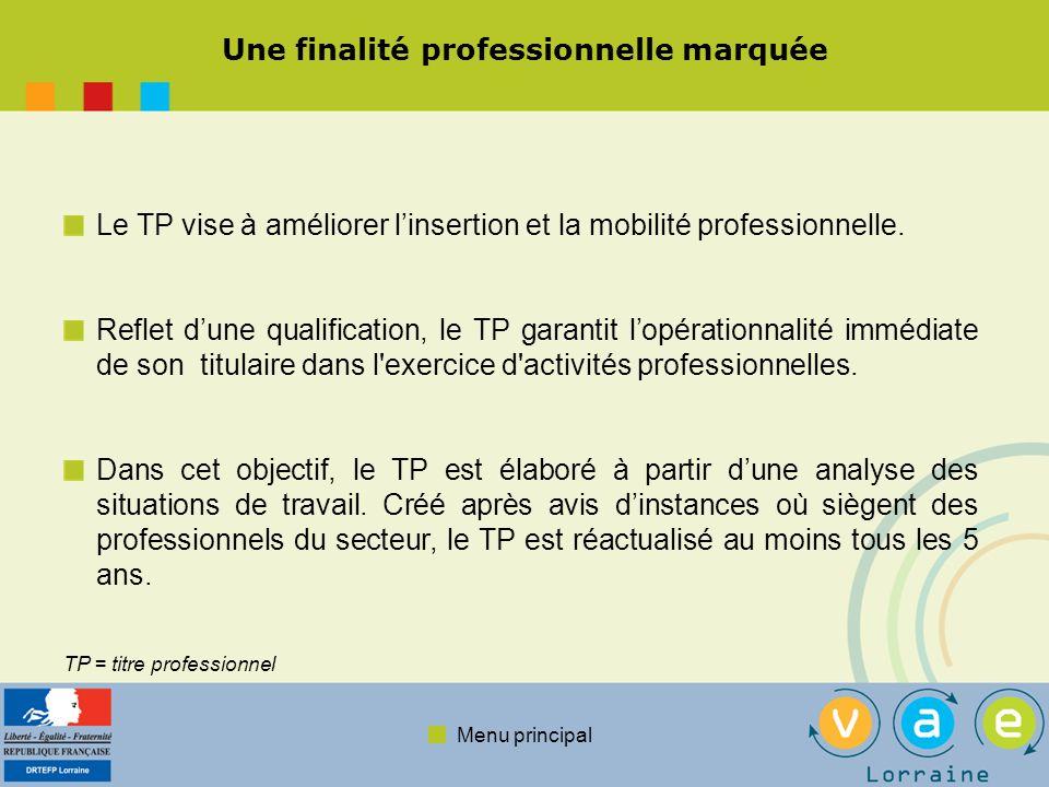 Menu principal Une finalité professionnelle marquée Le TP vise à améliorer linsertion et la mobilité professionnelle.