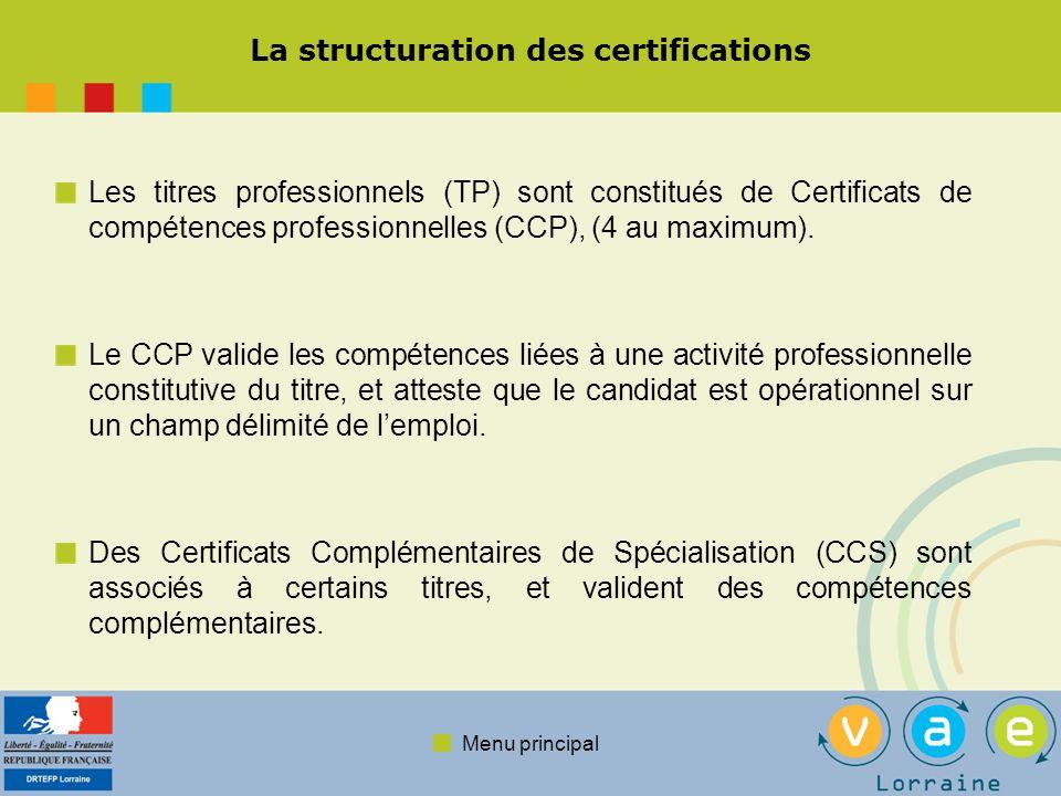 Menu principal La structuration des certifications Les titres professionnels (TP) sont constitués de Certificats de compétences professionnelles (CCP), (4 au maximum).